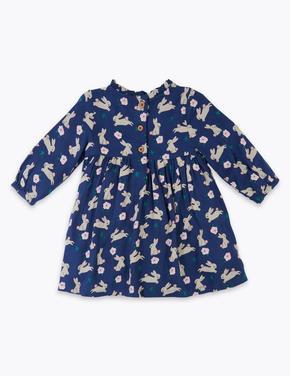 Bebek Lacivert Tavşan Desenli Elbise