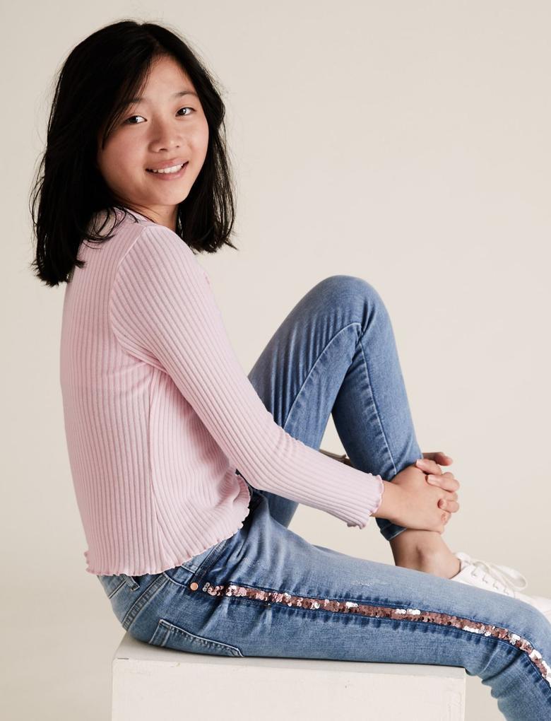 Kız Çocuk Pembe Uzun Kollu Fitilli Bluz