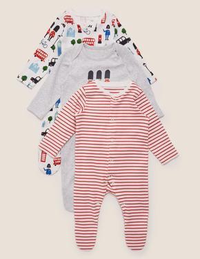 Bebek Beyaz 3'lü Organik Pamuklu Desenli Tulum Seti