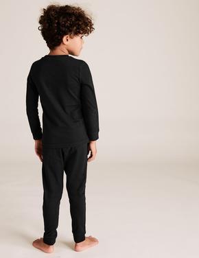 Çocuk Siyah Karanlıkta Parlayan İskelet Desenli Pijama Takımı