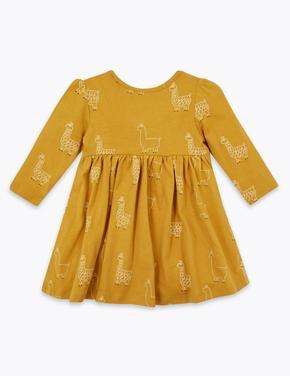 Bebek Sarı Lama Desenli Uzun Kollu Elbise