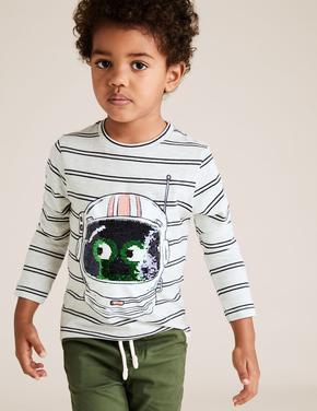 Erkek Çocuk Bej Değişen Pullu Uzun Kollu T-shirt