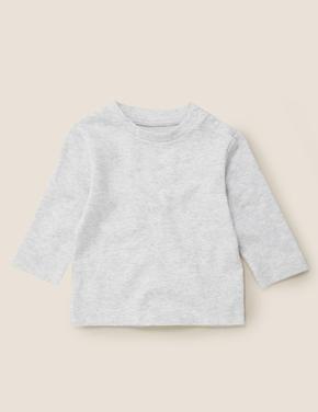 Bebek Gri 4'lü Saf Pamuklu Uzun Kollu T-Shirt