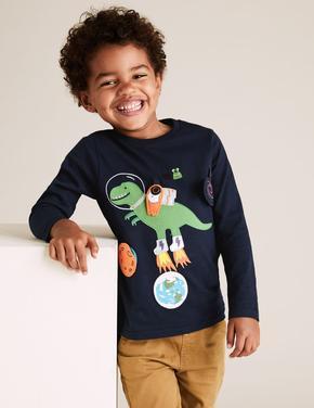 Erkek Çocuk Lacivert Saf Pamuklu Dinozor Desenli T-Shirt