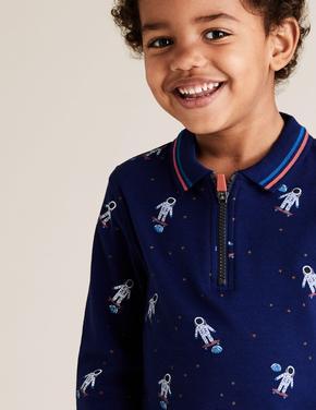 Erkek Çocuk Lacivert Uzay Desenli Polo Yaka T-Shirt