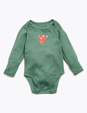 Bebek Koyu lacivert 5'li Organik Pamuklu Desenli Body Seti