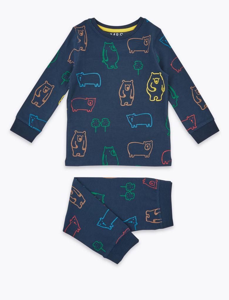 Çocuk Lacivert Pamuklu Desenli Pijama Takımı