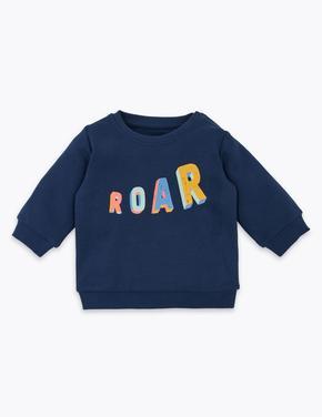 Bebek Lacivert Pamuklu Slogan Sweatshirt