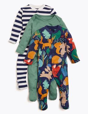 Bebek Koyu lacivert 3'lü Organik Pamuklu Desenli Tulum Seti