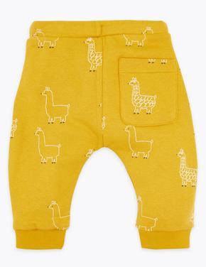 Bebek Sarı Lama Desenli Eşofman Altı