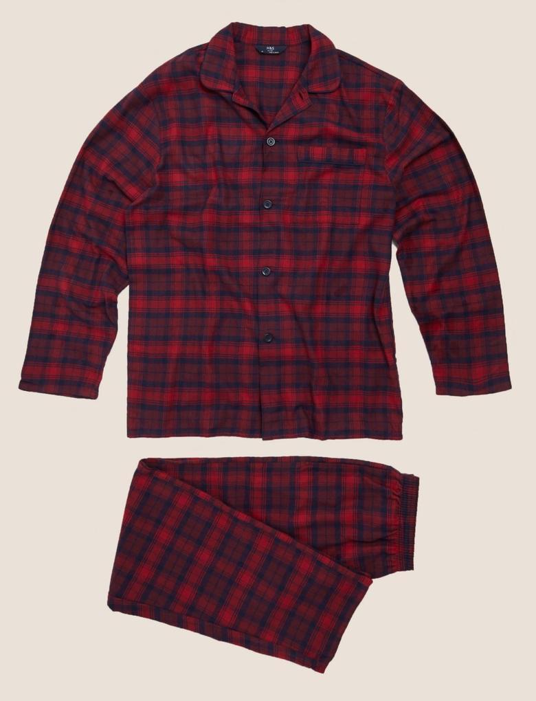 Erkek Kırmızı Saf Pamuklu Ekose Pijama Takımı
