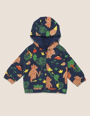 Bebek Lacivert Desenli Kapüşonlu Sweatshirt