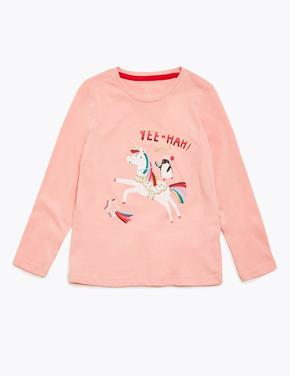 Kız Çocuk Pembe Saf Pamuklu Unicorn Desenli T-Shirt