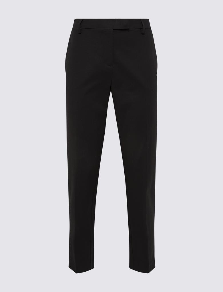 Siyah Pamuklu Slim Leg Pantolon