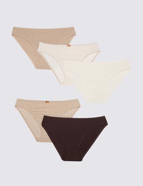Kadın Kahverengi 5'li Bikini Külot Seti