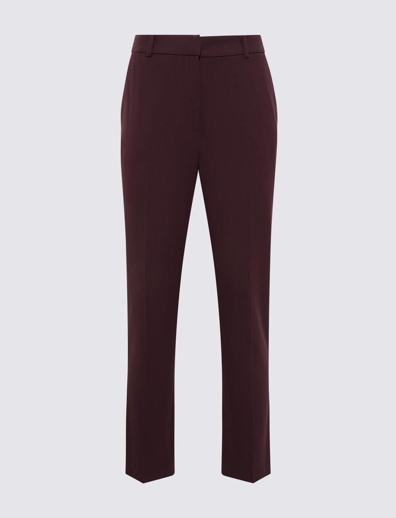 Kadın Bordo Slim Fit Pantolon