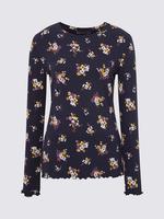 Kadın Lacivert Uzun Kollu Desenli Bluz