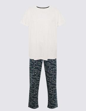 Kadın Mavi Kısa Kollu Pijama Takımı