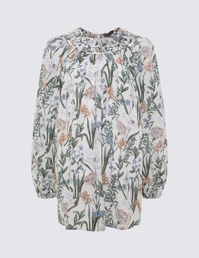 Kadın Krem Çiçek Desenl, Yuvarlak Yaka Bluz