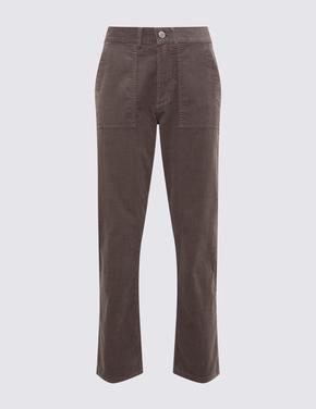 Kahverengi Kadife Straight Leg Pantolon