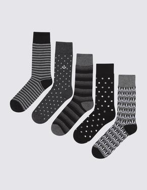 Erkek Siyah 5'li Cool & Fresh™ Çorap Seti