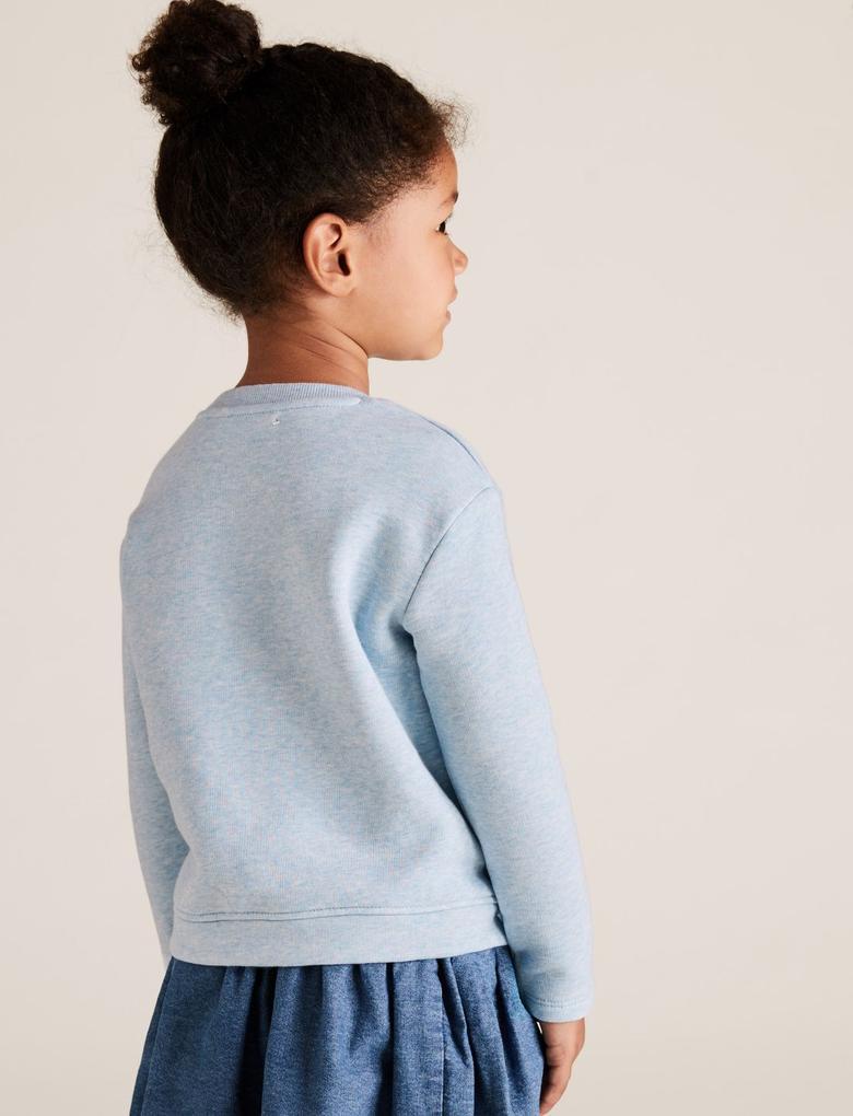 Kız Çocuk Mavi Pamuklu Yuvarlak Yaka Sweatshirt