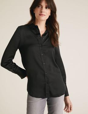 Kadın Siyah Uzun Kollu Saten Gömlek