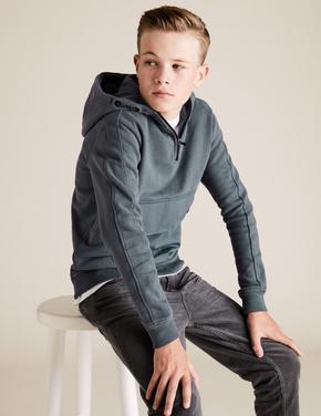 Erkek Çocuk Mavi Kapüşonlu Önden Cepli Sweatshirt