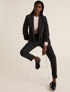 Kadın Gri Kolları Büzgülü Blazer Ceket