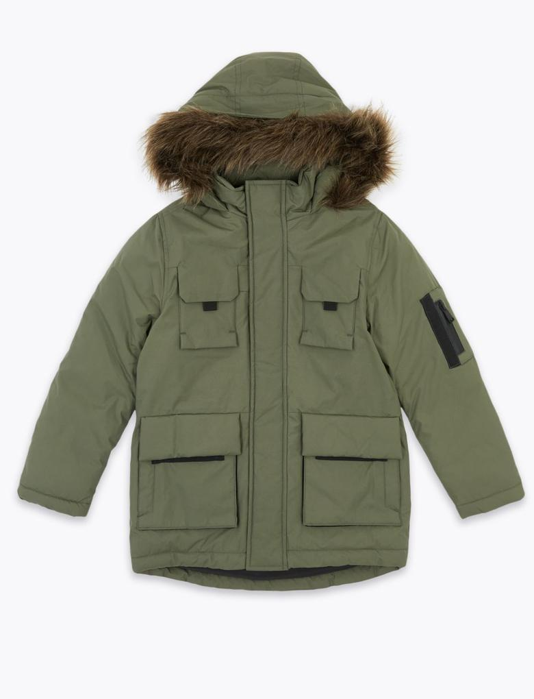 Erkek Çocuk Yeşil Kapüşonlu Parka (Stormwear™ Teknolojisi ile)