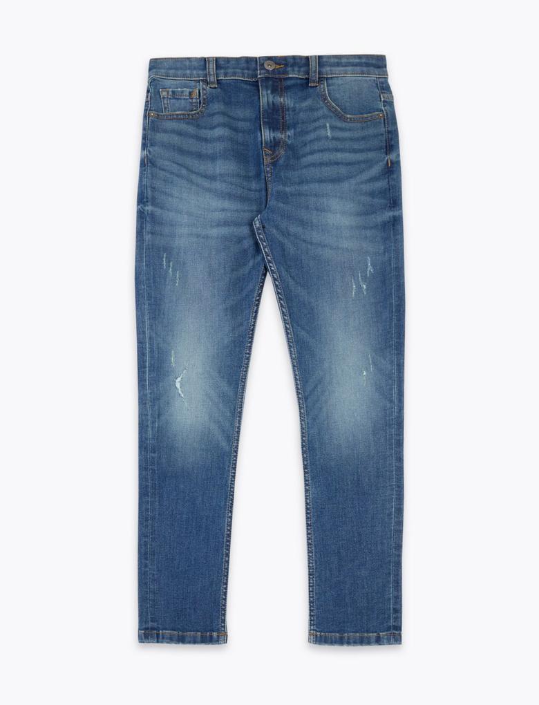 Erkek Çocuk Mavi Regular Fit Streç Jean Pantolon