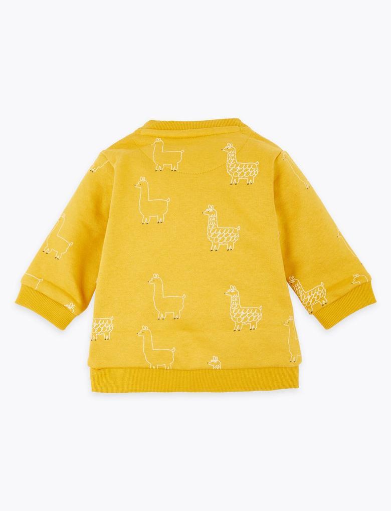 Bebek Sarı Lama Desenli Sweatshirt