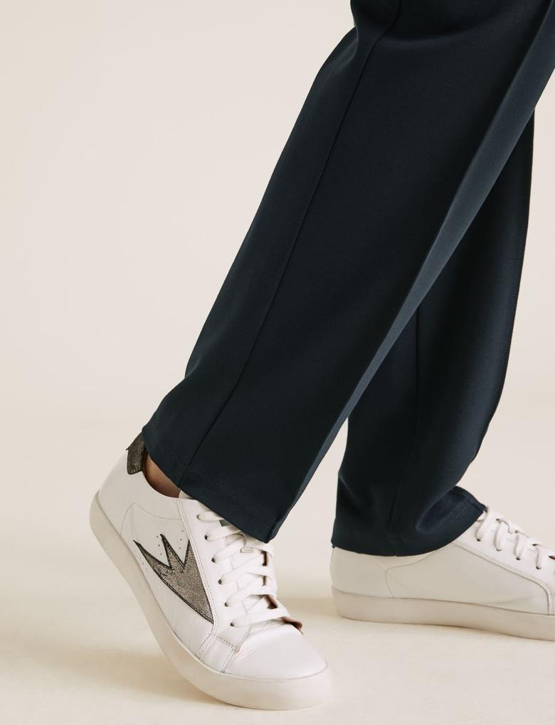 Kadın Lacivert Jarse Straight Leg Pantolon