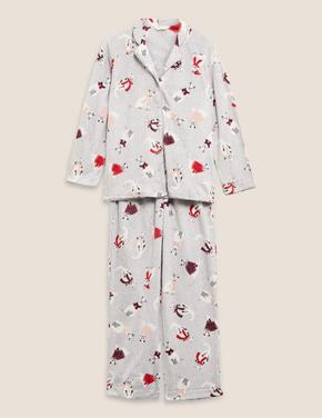 Kadın Gri Desenli Polar Pijama Takımı