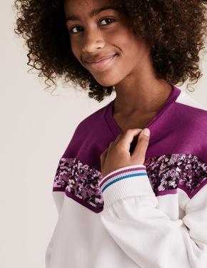 Kız Çocuk Beyaz Uzun Kollu Pullu Sweatshirt