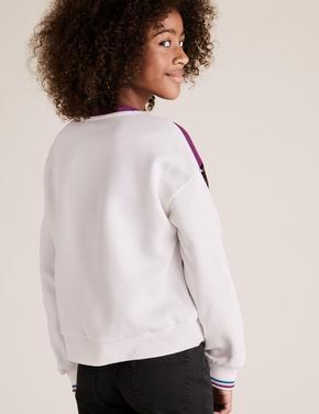 Kız Çocuk Beyaz Pul İşlemeli Sweatshirt