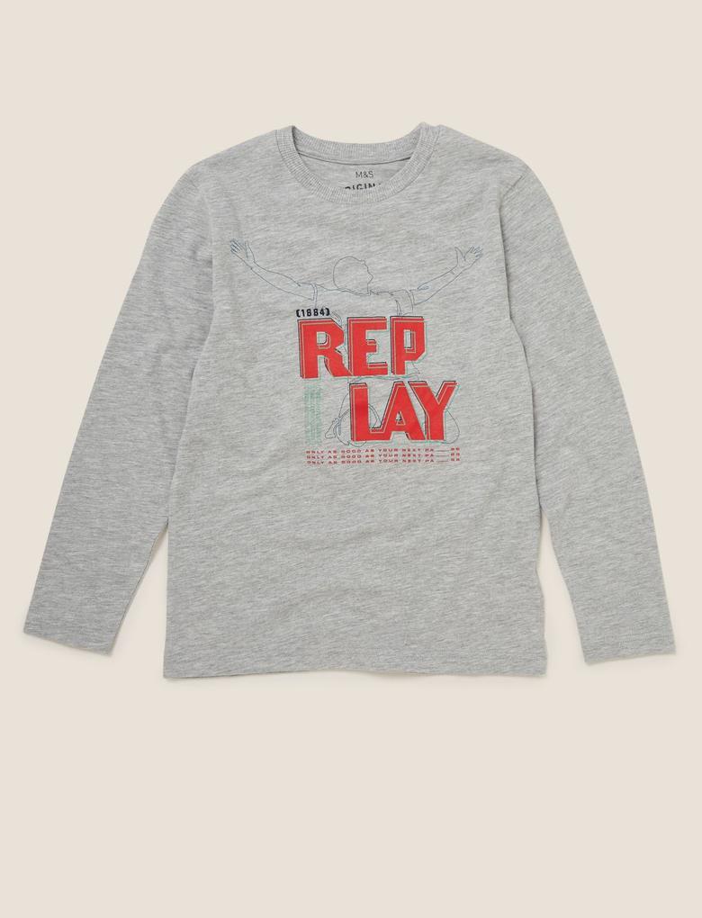 Erkek Çocuk Gri Uzun Kollu Sloganlı T-Shirt