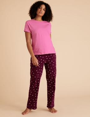 Kadın Mor Puantiye Desenli Pijama Takımı