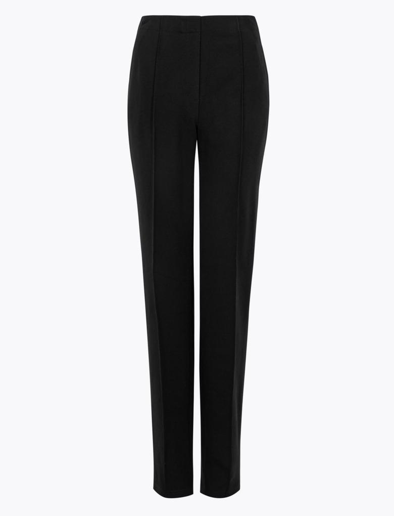 Kadın Siyah Jarse Straight Leg Pantolon