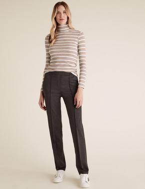 Kadın Gri Jarse Straight Leg Pantolon