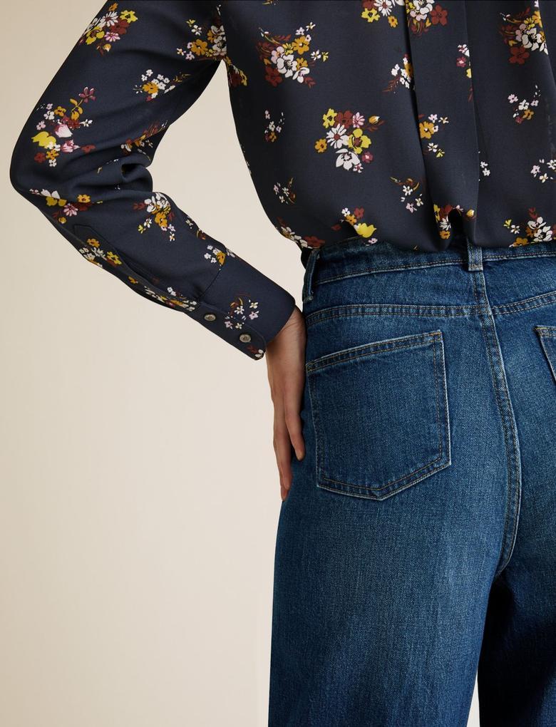 Kadın Koyu lacivert Yüksek Belli Wide Leg Jean Pantolon