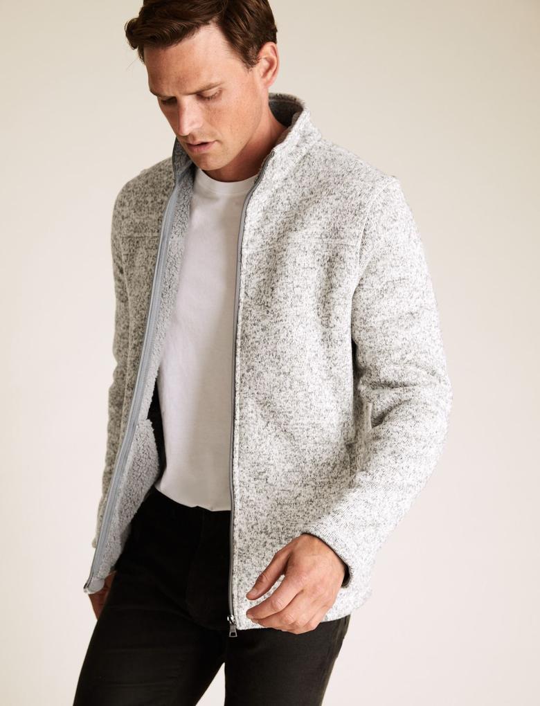 Krem Fermuarlı Polar Ceket
