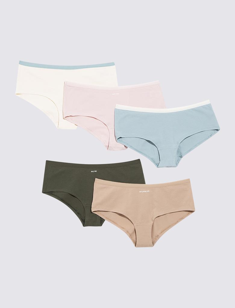 Kadın Multi Renk 5'li Short Külot Seti