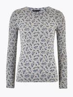 Kadın Gri Saf Pamuklu Desenli Bluz