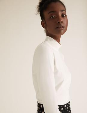 Kadın Beyaz Balıkçı Yaka Uzun Kollu T-Shirt
