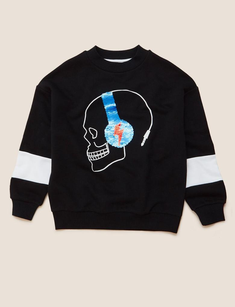 Erkek Çocuk Siyah Kuru Kafa Desenli Sweatshirt