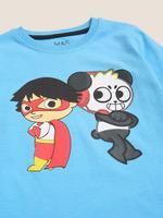 Erkek Çocuk Mavi Ryan and Panda Uzun Kollu T-Shirt