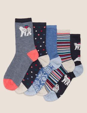 Kadın Mavi 5'li Sumptuously Soft™ Çorap Seti