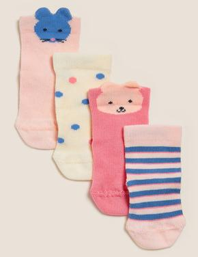 Çocuk Multi Renk 4'lü Pamuklu Çorap Seti
