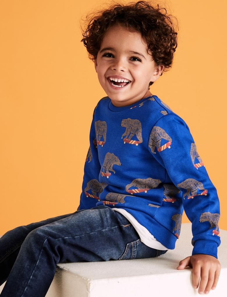 Erkek Çocuk Lacivert Desenli Yuvarlak Yaka Sweatshirt
